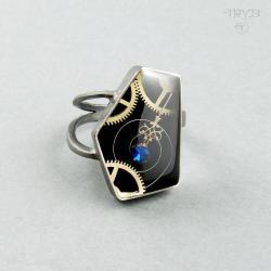 steampunk,pierśconek,kanciaty, - Pierścionki - Biżuteria