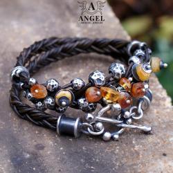 bransoleta damska z surowych bursztynów i skóry - Bransoletki - Biżuteria