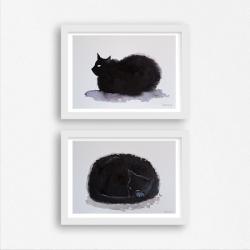 akwarela,kotki,tusz,kredki - Obrazy - Wyposażenie wnętrz
