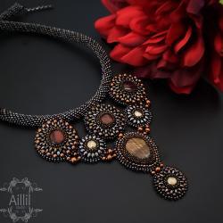 haft koralikowy,elegancki,ekskluzywn,stylowy - Naszyjniki - Biżuteria