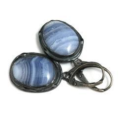 chalcedony,srebrne,niebo,mineralne,szare,okazałe - Kolczyki - Biżuteria