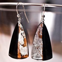 biżuteria z żywicy srebro drewno - Kolczyki - Biżuteria