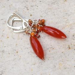 kolczyki,karneol,pomarańczowe,długie,eleganckie, - Kolczyki - Biżuteria