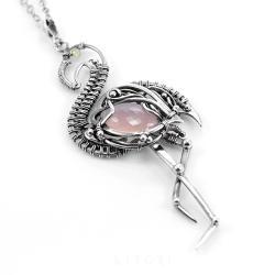 flaming,srebrny flaming,ptak,litori - Naszyjniki - Biżuteria