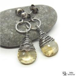 kolczyki,cytryn,otulony,krople,żółte,naturalne - Kolczyki - Biżuteria