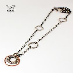 naszyjnik,łańcuszek,geometryczna biżuteria - Naszyjniki - Biżuteria