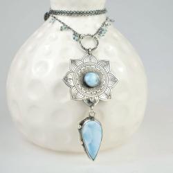 naszyjnik,wisior,larimar,mandala,błękitny - Naszyjniki - Biżuteria