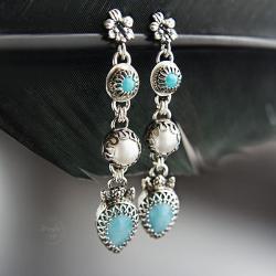 długie,srebrne,kolczyki,z larimarem - Kolczyki - Biżuteria