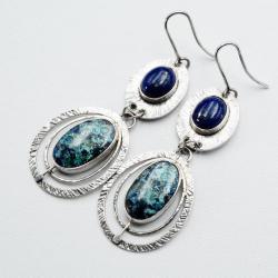 wiszące kolczyki z azurytem i lapisem - Kolczyki - Biżuteria
