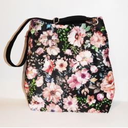 torba w kwiaty,wzorzysta torba,worek,torba xl, - Na ramię - Torebki