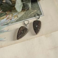 drewniane kolczyki,kolczyki z labradorytami - Kolczyki - Biżuteria