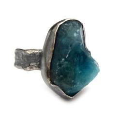 apatyt,srebrny,surowy,blask,błękit,raw,retro - Pierścionki - Biżuteria