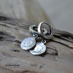 kolczyki srebro,z monetą,srebrna moneta - Kolczyki - Biżuteria