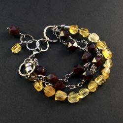 srebrna bransoletka z granatami - Bransoletki - Biżuteria
