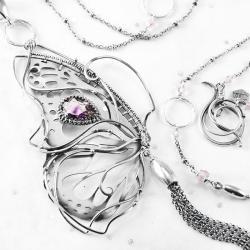 srebrny,naszyjnik,wire-wrapping,motyl,ametyst,ciba - Naszyjniki - Biżuteria