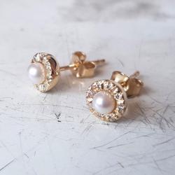 kolczyki,kolczyki wkrętki,perły,diamenty, - Kolczyki - Biżuteria