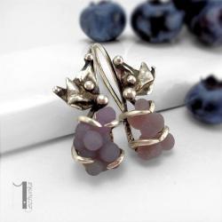 kolczyki srebrne,chalcedon winogronowy - Kolczyki - Biżuteria