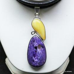 wisior z czaroitem,burszryn,srebro,biżuteria,wisio - Wisiory - Biżuteria