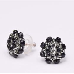 Kolczyki Swarovski Czarne Kwiaty sztyfty Srebro - Kolczyki - Biżuteria