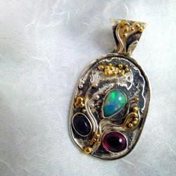 Wisior srebrny z opalami - Wisiory - Biżuteria