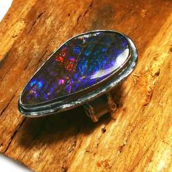 AMMOLIT,srebrny,blask,srebro,tęcza,fiolet,retro - Pierścionki - Biżuteria