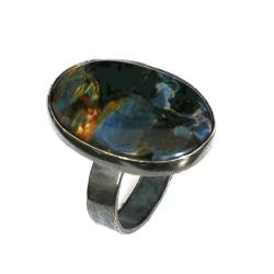 pietersite,niebieski,noc,blask,srebrny,granat,styl - Pierścionki - Biżuteria