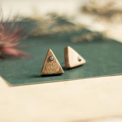 kolczyki drewniane,kolczyki z obsydianami,drewno - Kolczyki - Biżuteria