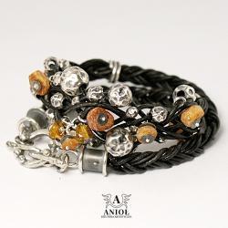 bransoleta z bursztynami,skórzana biżuteria - Bransoletki - Biżuteria