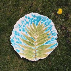 patera,talerz,patera ceramiczna,liść,palma - Ceramika i szkło - Wyposażenie wnętrz