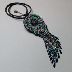 naszyjnik,z agatem,haft koralikowy,z frędzlami - Naszyjniki - Biżuteria