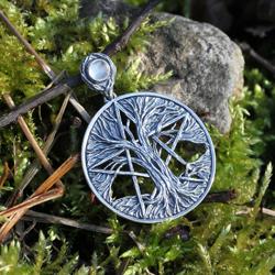 drzewo życia,pentagram,pentakl,kryształ górski - Wisiory - Biżuteria