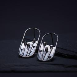 srebrne kolczyki łąka - Kolczyki - Biżuteria