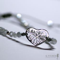 bransoletka,minimalistyczna,srebrna,serce - Bransoletki - Biżuteria