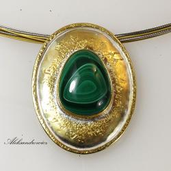 srebro złocone,malachit - Broszki - Biżuteria