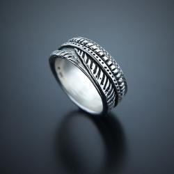 męska,obrączka,szeroka,zdobiona,bez kamieni - Pierścionki - Biżuteria
