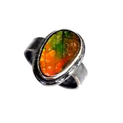 srebrny pierścienek ammolit,z ammolitem,unikat - Pierścionki - Biżuteria