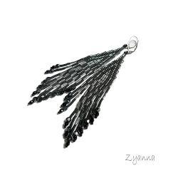 kolczyki,czarne,srebrne,indiańskie - Kolczyki - Biżuteria