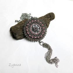 chwost,medalion,czeski guzik,boho - Naszyjniki - Biżuteria