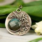Wisiory medalion,labradoryt,kwiaty,srebrny,prezent