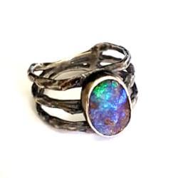 opal,srebrny,opalowy,tęczowy,delikatny,srebro - Pierścionki - Biżuteria