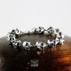 męska bransoleta ze srebrnych czaszek,biżuteria - Dla mężczyzn - Biżuteria