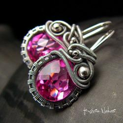 nehesi,kolczyki,srebre,srebra,wire wrapping,różowe - Kolczyki - Biżuteria