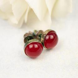 kolczyki,okrągłe,małe,srebrne,czerwone - Kolczyki - Biżuteria