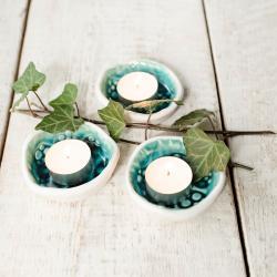 ceramika,świeczniki,zestaw,tea light - Świeczniki - Wyposażenie wnętrz