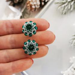 Kolczyki Swarovski Szmaragdowe Kwiatkii sztyfty - Kolczyki - Biżuteria