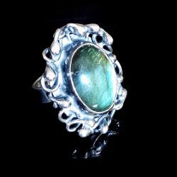 pierścionek,morski labradoryt,blask,srebro - Pierścionki - Biżuteria