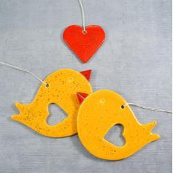 ptaszki,serce,romantyczne,walentynki - Ceramika i szkło - Wyposażenie wnętrz