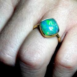 opal,złoty,blask,zielony,królewski,złoto,tęczowy, - Pierścionki - Biżuteria