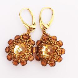 Kolczyki Złote Kwiaty Swarovski - Kolczyki - Biżuteria