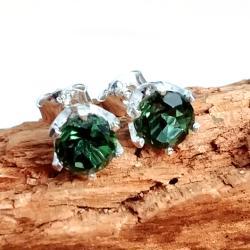turkus,srebrne,zielone,minerał,retro,srebro,blask - Kolczyki - Biżuteria